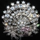 RHINESTONE CRYSTAL ROUND BRIDAL WEDDING CAKE BELT BUCKLE BROOCH CORSAGE PIN