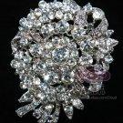 BRIDAL DRESS VINTAGE CRYSTAL RHINESTONE SILVER DRESS CAKE BUCKLE BROOCH PIN