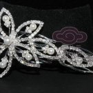 BRIDAL WEDDING FAUX PEARL RHINESTONE CRYSTAL TIARA HAIR COMB