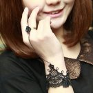 CHIFFON LACE RIBBON BRASS CUTE BLACK SLAVE BRACELET WITH ROCOCO STYLE RING