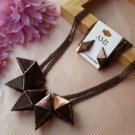 STEAMPUNK VINTAGE STYLE RED COPPER CHOKER NATURE LEATHER EARRINGS NECKLACE SET