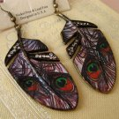 RARE ONLY ONE - PUNK STYLE FEATHER CRYSTAL RHINESTONES HOOK EARRINGS