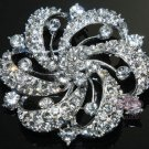 LOT OF 4 ROUND FLOWER BRIDAL WEDDING RHINESTONE CRYSTAL DRESS CAKE BROOCH PIN