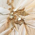 FASHION WHITE FEATHER FUR NECK COLLAR STRING GOLD TONE PLATED NECKLACE LARIATS