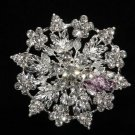 BRIDAL WEDDING CAKE RHINESTONE CRYSTAL SILVER BROOCH PIN