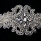 "4"" BEADED GLASS CRYSTAL RHINESTONE WEDDING CRAFT SASH MOTIF CRAFT APPLIQUE"