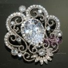 SWAROVSKI VINTAGE STYLE BRIDAL WEDDING RHINESTONE CRYSTAL SASH DRESS BROOCH PIN