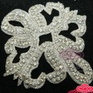 "6"" BEADED GLASS CRYSTAL RHINESTONE WEDDING EMBELLISHMENT HEADBAND APPLIQUE"