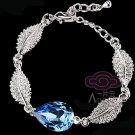 RHINESTONE CRYSTAL WEDDING BRIDAL PARTY LEAF STYLE TEARDROP PEAR CHAIN BRACELET