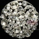 BRIDAL DRESS CAKE TOPPER ROUND WEDDING BUCKLE CRYSTAL RHINESTONE BROOCH PIN