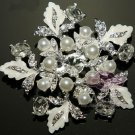 BRIDAL WEDDING WHITE FAUX PEARL FLOWER RHINESTONE CRYSTAL SILVER BROOCH PIN