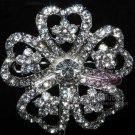 RHINESTONE CRYSTAL BRIDAL WEDDING HEART FLOWER BOUQUET CLUSTER SILVER BROOCH PIN