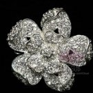 BRIDAL WEDDING CRAFT FLOWER SILVER RHINESTONE CRYSTAL CORSAGE FLORAL BROOCH PIN