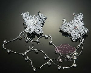 BUTTERFLY BRIDAL WEDDING RHINESTONE CRYSTAL SWEATER GUARD HAIR PIECES CLIP
