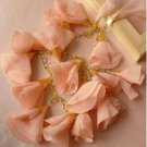 LACE PINK COLOR CHIFFON HANDMADE FLORAL LILY NECKLACE