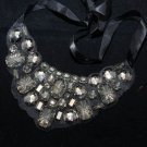 ACRYLIC RHINESTONE CRYSTAL NECK COLLAR RIBBON NECKLACE BIB BLACK CHOKER LARIATS