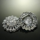 LOT OF 10 BRIDESMAIDS RHINESTONES CRYSTAL ROUND HIGH HEEL VINTAGE SHOES CLIPS