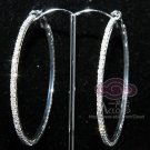 FASHION CIRCLE RHINESTONE CRYSTAL HOOP RING EARRINGS 2.5""