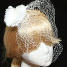 BRIDAL WEDDING WHITE FEATHER PEARL HAIR FASCINATING BIRDCAGE VEIL HAIR  CLIP