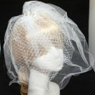 BRIDAL WEDDING WHITE RHINESTONE PEARL HAIR FASCINATING BIRDCAGE VEIL HAIR  CLIP
