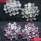 LOT OF 4 BRIDAL WEDDING RHINESTONE CRYSTAL DRESS SASH CRAFT PURPLE CLEAR BUTTONS