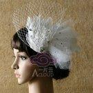 BRIDAL WEDDING WHITE PEACOCK FEATHER HAIR FASCINATOR BIRDCAGE VEIL HAIR  CLIP