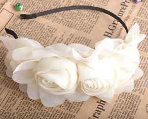 VINTAGE STYLE IVORY HANDMADE CHIFFON ROSE FLOWERS TWINS HAIR HEADBAND HAIRBAND