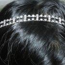TWO ROWS BRIDAL WEDDING RHINESTONE CRYSTAL HAIR TIARA FOREHEAD RIBBON HEADBAND