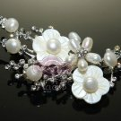 FRESHWATER PEARLS RHINESTONE CRYSTAL WEDDING BRIDESMAID FLORAL BROOCH PIN