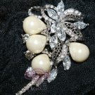 LOT OF 10 RHINESTONES CRYSTAL BRIDAL WEDDING FAUX PEARL PENDANT BROOCH PIN