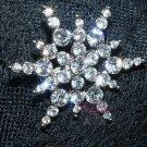 BRIDAL RHINESTONE CRYSTAL WEDDING CAKE DECORATION STAR SNOW BROOCH PIN