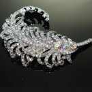 FEATHER BRIDAL WEDDING CAKE HAIR FLOWER BOUQUET RHINESTONE CRYSTAL BROOCH PIN