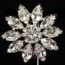 WEDDING RHINESTONE CRYSTAL BRIDAL FLOWER SASH BUCKLE SILVER DRESS BROOCH PIN
