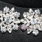 LOT OF 6 CLEAR RHINESTONE CRYSTAL SILVER FLORAL WEDDING BRIDAL CRAFT BUTTONS