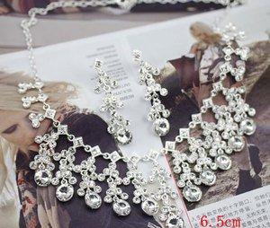 WEDDING BRIDAL RHINESTONE CRYSTAL MEMORY DROPLET  STUD EARRINGS NECKLACE SET