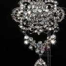 LOT OF 6 RHINESTONE CRYSTAL BRIDAL WEDDING CAKE DRESS DANGLE BROOCH PIN