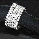 CLEAR RHINESTONE CRYSTAL 6 ROWS WEDDING BRIDAL BANGLE BRACELET CUFF