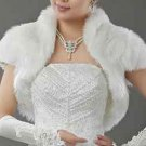 BLACK/OFF WHITE BRIDAL WEDDING GOWN CAPE STOLE FAUX FUR WRAP SHRUG BOLERO JACKET