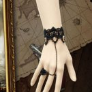 CHIFFON LACE RIBBON BRASS ROSE BLACK SLAVE BRACELET WITH ROCOCO STYLE RING