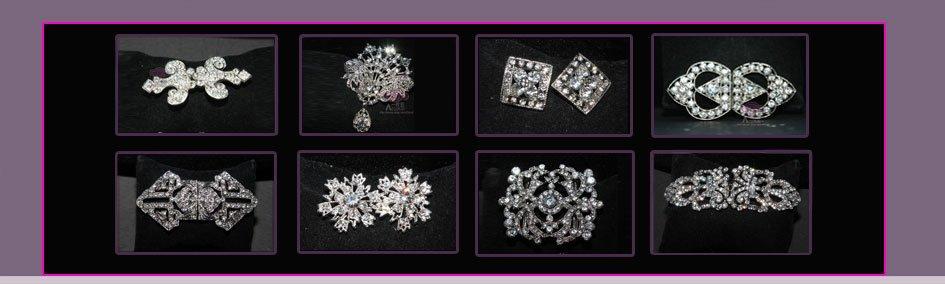 LOT OF 6 ROUND FLOWER BRIDAL WEDDING RHINESTONE CRYSTAL DRESS CAKE BROOCH PIN