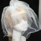 FANCY WHITE SHEER WEDDING FAUX PEARL CRYSTAL BRIDAL FISHNET SHOW BIRDCAGE VEIL
