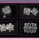 LOT OF 6 BOUQUET FLOWER BRIDAL WEDDING RHINESTONE CRYSTAL DRESS CAKE BROOCH PIN