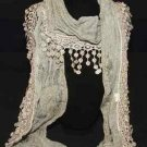 VINTAGE EMBROIDERY LACE FLORAL CROCHET TASSEL WRAP SHAWL SCARF