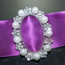 SILVER RHINESTONE CRYSTAL WEDDING SLIDER SHOES SASH FAUX PEARL BELT BUCKLE
