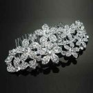 FLOWER BLOSSOM BRIDAL WEDDING BRIDES SILVER RHINESTONE CRYSTAL TIARA HAIR COMB