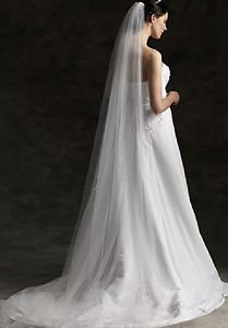 WEDDING BRIDAL SOFT NET TULLE WHITE IVORY CATHERDAL VEIL 1 Tier