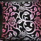 2 PCS BLACK PURPLE ROCOCO CHAIR SILVER FLORAL FUR SOFA CUSHION PILLOW CASE 17""