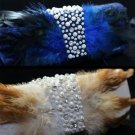 RHINESTONE CRYSTALS WEDDING BRIDESMAID FEATHER EVENING HANDBAG BAG CLUTCH