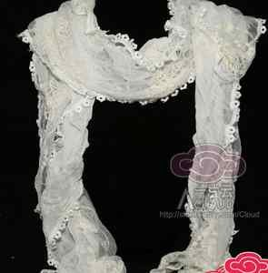 ELEGANT LACE EMBROIDERY COSTUME FLORAL CROCHET WRAP SHAWL STOLE SCARF