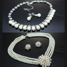 WEDDING BRIDAL RHINESTONE CRYSTAL FAUX PEARL CLIP ON/ STUD EARRINGS NECKLACE SET